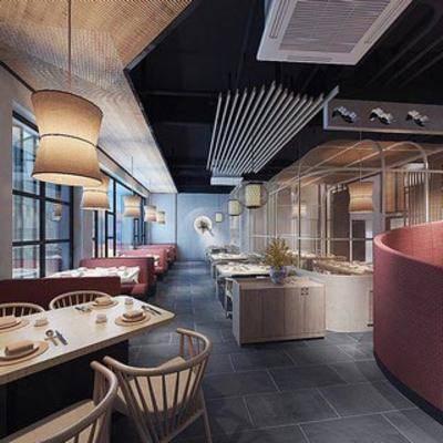餐厅, 现代简约, 餐桌, 椅子, 吊灯