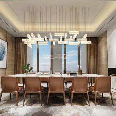 娱乐, 茶室, 中式风格, 椅子, 吊灯, 餐桌, 盆栽, 挂画
