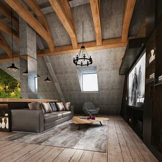 沙发茶几,吊灯,吧椅,吧台,loft客厅