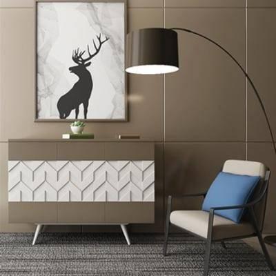 落地灯, 现代简约, 组合, 边柜, 陈设品, 单人椅