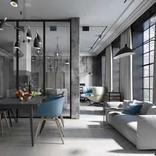 吊灯,沙发,桌椅组合,工业风,餐厅,loft,美式简约
