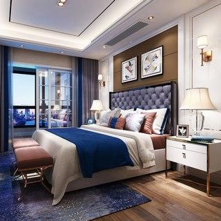 床,卧室,台灯,床头柜,北欧简约