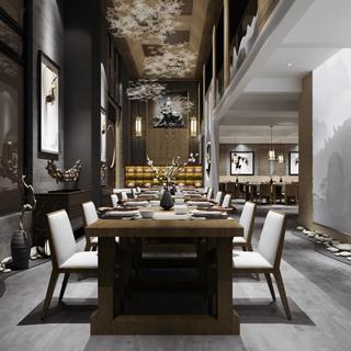 吊灯,中式,桌椅组合,餐厅,餐具组合