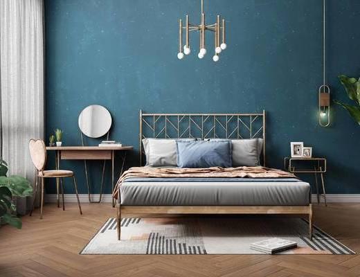 北欧, 双人床, 梳妆台, 吊灯, 摆件