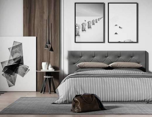 北歐, 雙人床, 裝飾畫, 掛畫, 吊燈, 擺件, 邊幾