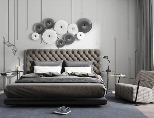 现代, 床具, 双人床, 墙饰, 单人沙发, 台灯, 书籍