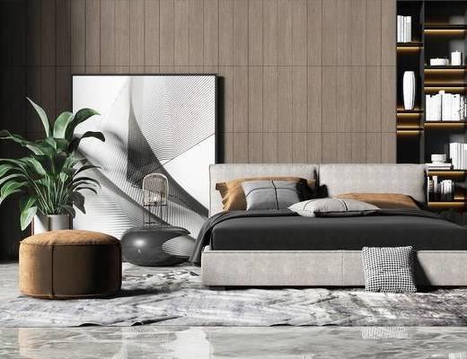 现代, 双人床, 沙发凳, 盆栽, 装饰画, 装饰柜, 摆件