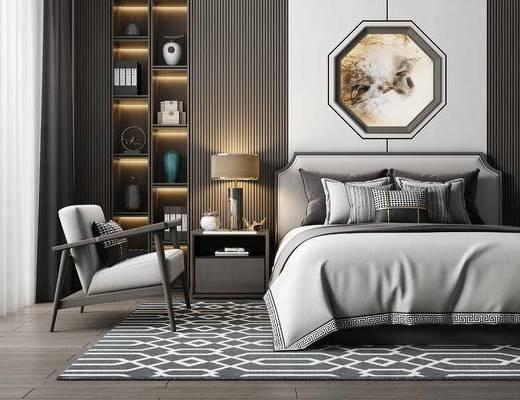 現代, 雙人床, 單人沙發, 裝飾柜, 擺件, 臺燈, 床頭柜