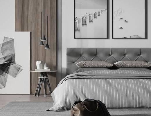 现代, 双人床, 边几, 吊灯, 摆件, 装饰画, 挂画