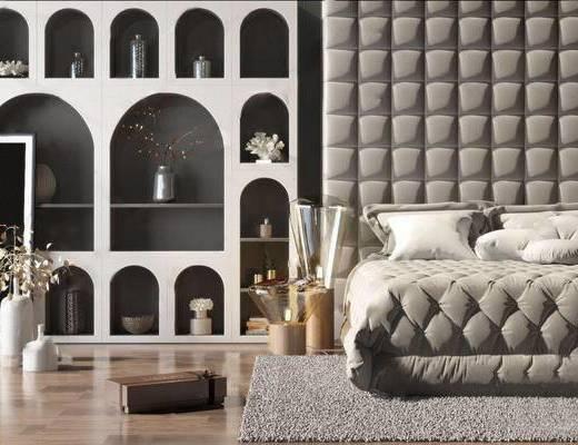 簡歐, 雙人床, 裝飾柜, 擺件, 盆栽