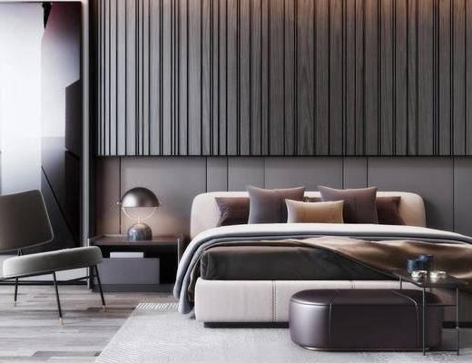现代, 双人床, 单人沙发, 台灯, 摆件