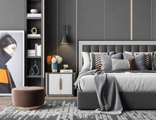 现代, 双人床, 这是, 装饰柜, 吊灯, 床头柜, 花瓶花卉, 摆件