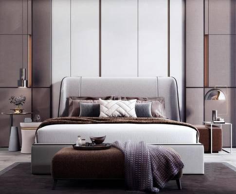 现代, 双人床, 吊灯, 边几, 摆件, 盆栽