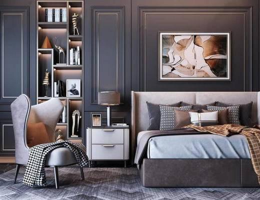 现代, 双人床, 单人沙发, 床头柜, 挂画, 装饰柜, 台灯, 摆件