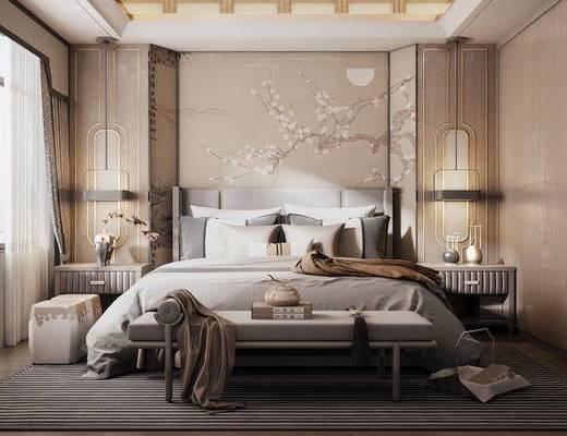 現代, 雙人床, 吊燈, 擺件, 盆栽