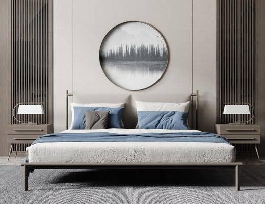 现代, 卧室, 双人床, 床头柜, 台灯
