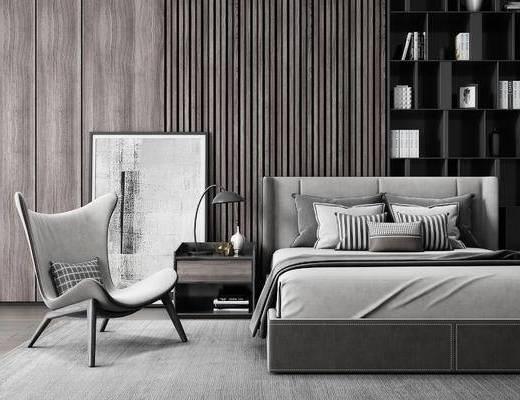 现代, 卧室, 双人床, 单人沙发, 装饰柜, 装饰画, 台灯, 花瓶