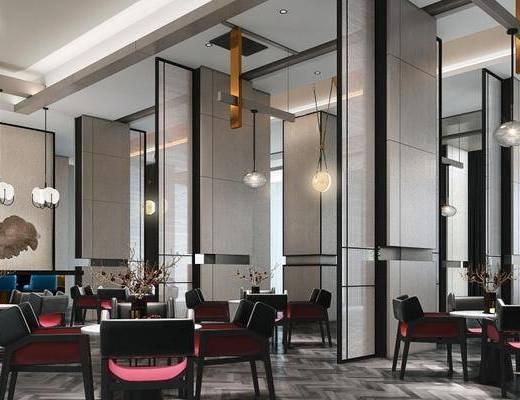 现代, 酒店, 洽谈区, 会客区, 桌椅组合