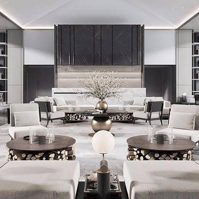 现代, 酒店, 会客区, 洽谈区, 沙发组合