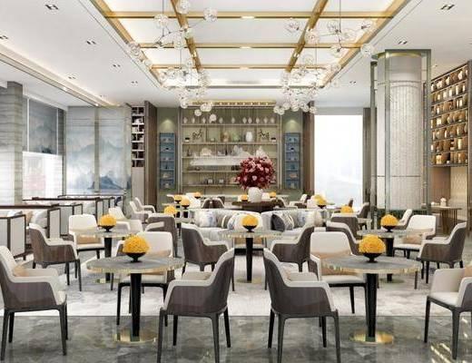 现代, 酒店, 会客区, 洽谈区, 桌椅组合