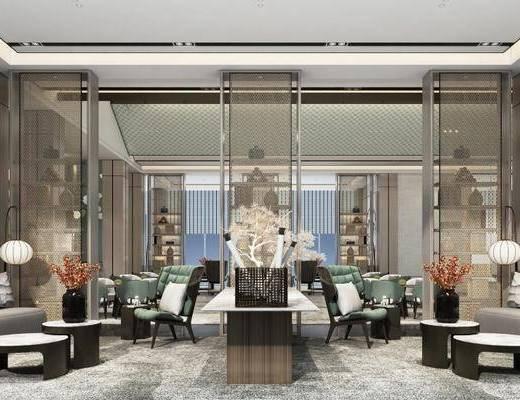 新中式會客廳, 新中式, 沙發組合, 新中式洽談區, 沙發茶幾組合