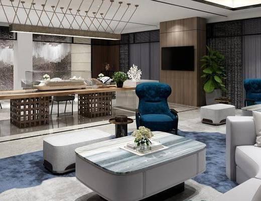 现代, 酒店, 洽谈区, 会客区, 沙发组合