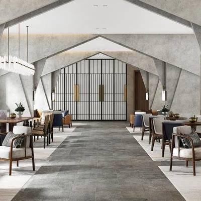 现代, 售楼处, 洽谈区, 桌椅组合