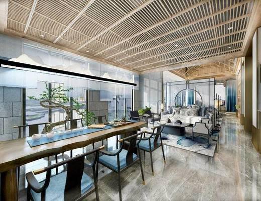 新中式, 茶館, 桌椅組合