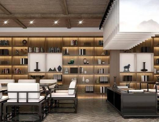 新中式, 茶馆, 桌椅组合