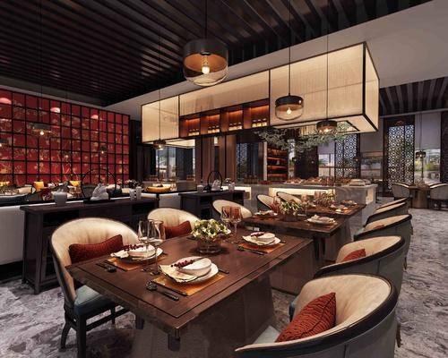 中式, 餐厅, 桌椅组合