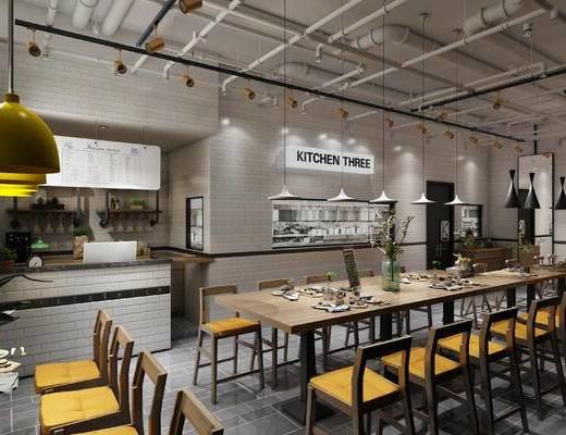 北欧, 餐厅, 桌椅组合