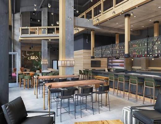 工业风, 餐厅, 桌椅组合