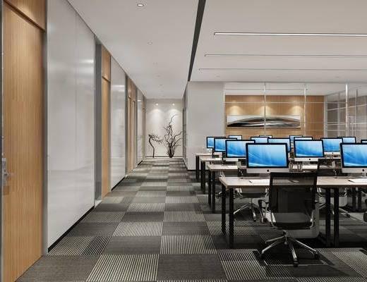 现代办公室, 现代办公区, 桌椅组合, 办公桌, 办公用品