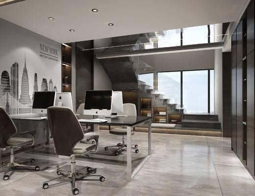 現代辦公室, 現代辦公區, 辦公桌, 桌椅組合, 辦公用品