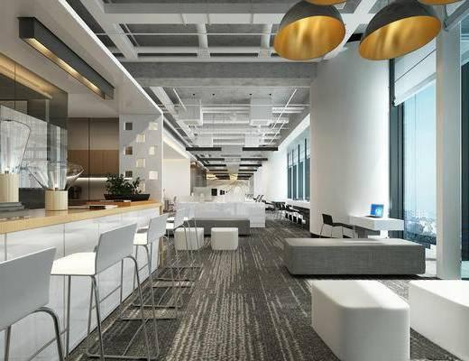 現代茶水區, 現代辦公區, 現代辦公室, 現代休息區, 沙發茶幾組合, 現代吊燈, 現代吧臺