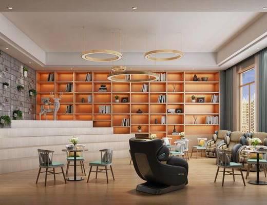 現代辦公區, 現代休閑區, 現代休息區, 桌椅組合, 置物架, 擺件
