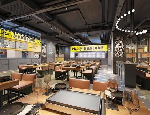现代, 工业风, 餐厅, 桌椅组合
