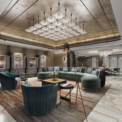 现代, 酒店, 餐厅, 桌椅组合, 沙发组合