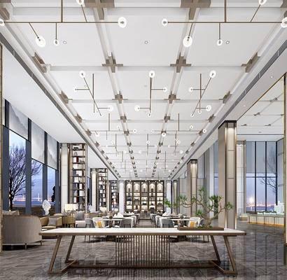 现代, 售楼处, 洽谈处, 单人沙发, 吊灯, 盆栽, 茶几