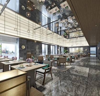 现代, 新中式, 餐厅, 桌椅组合