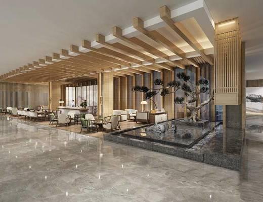 现代, 会客区, 洽谈区, 桌椅组合, 新中式