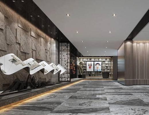 新中式, 展厅, 大厅, 现代