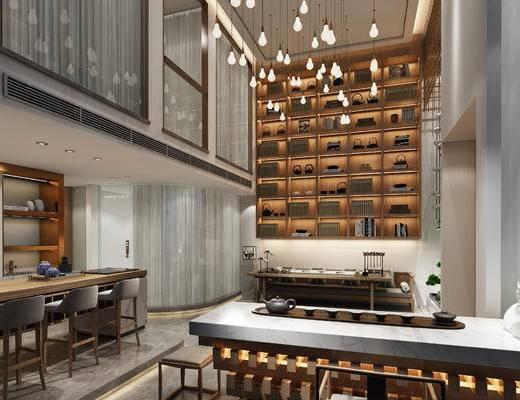 新中式, 吊灯, 茶室, 茶桌, 凳子, 吧椅