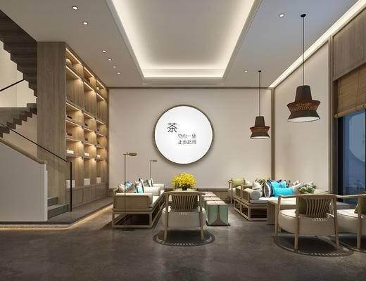新中式, 吊灯, 单人沙发, 双人沙发, 茶桌, 盆栽, 落地灯