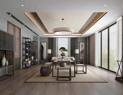 新中式, 茶室, 茶馆, 吊灯, 博古架, 摆件, 凳子, 单椅, 茶几