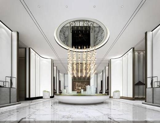 新中式, 售樓處, 大廳, 吊燈, 模型