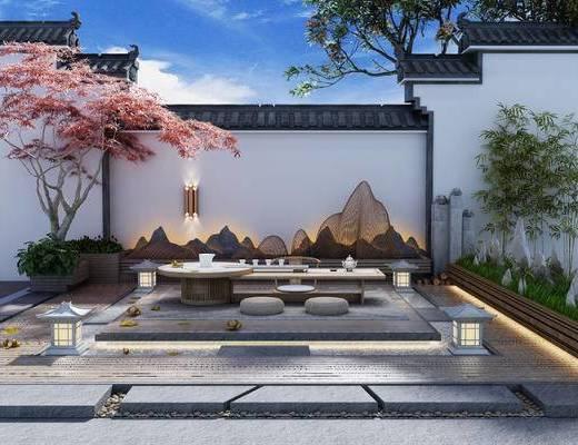 新中式, 露台, 茶几, 单椅, 凳子, 落地灯, 植物, 壁灯