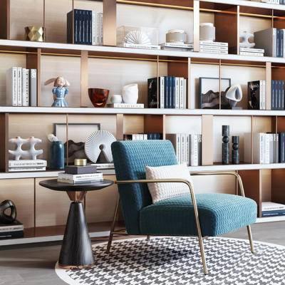 現代, 單人沙發, 茶幾, 書籍, 裝飾柜, 擺件
