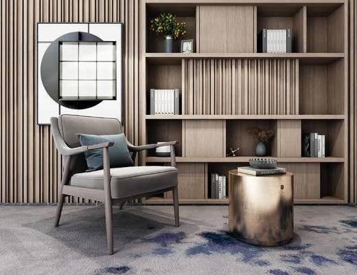 現代, 單人沙發, 裝飾柜, 擺件, 茶幾, 書籍, 盆栽