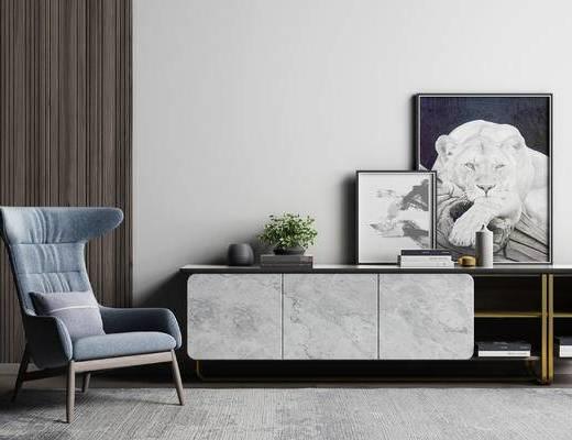 現代, 單人沙發, 電視柜, 掛畫, 擺件